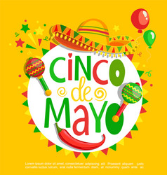 cinco de mayo lettering on holiday background vector image vector image