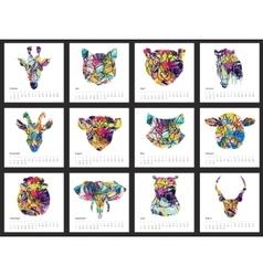 Calendar 2017 year simple animal style vector image