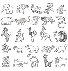 Cute zoo animals collection vector image vector image