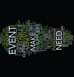 Event suppliers text background word cloud concept vector