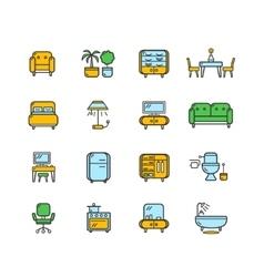 Furniture Icon Set Color vector image