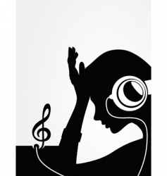 girl in earphones vector image vector image