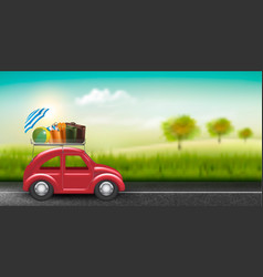 road trip concept red car with baggage in vector image