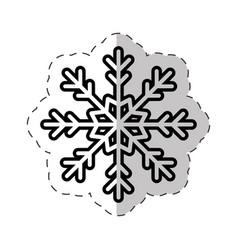 snowflakes winter ornament cut line vector image