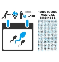 Sperm Calendar Day Icon With 1000 Medical Business vector image vector image