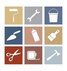 Working Tools Icons Set 9 vector image