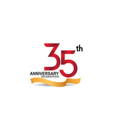 35 anniversary design logotype red color vector