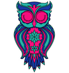 Amusing owl in turquoise blue and pink colors vector