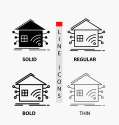 automation home house smart network icon in thin vector image