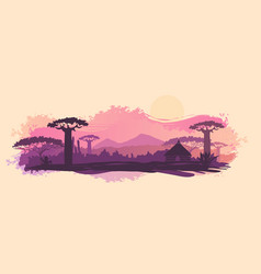 background of the african landscape sunset vector image