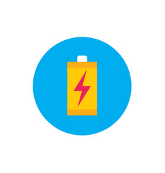 battery with lightning - concept colored icon vector image