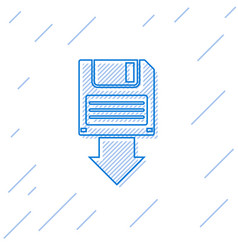 Blue floppy disk backup line icon isolated on vector