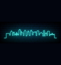 Blue neon skyline dallas city vector