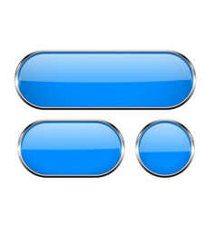 blue oval glass buttons with metal frame set of vector image