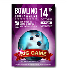 bowling poster bowling ball vertical vector image