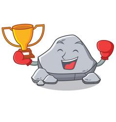 Boxing winner stone character cartoon style vector