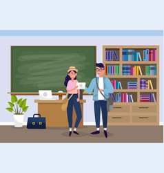 Boy and girl in the university classroom to learn vector