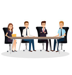 Business people in the boardroom isometric avatars vector