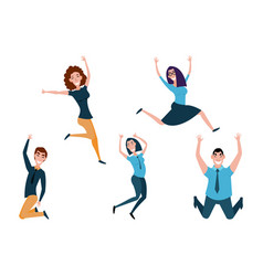 business people man and girl jumping celebrating vector image
