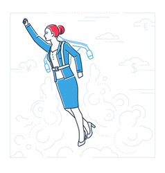 Businesswoman flying with a jetpack - line design vector