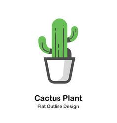 cactus plant outline flat vector image
