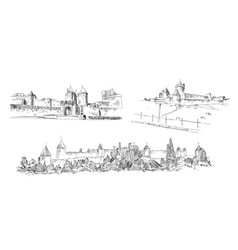 carcassonne fortress france hand drawn sketch vector image