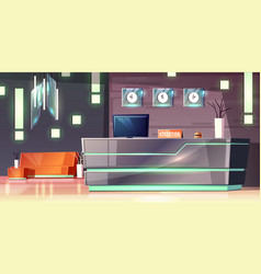 Cartoon hotel reception modern lobby vector
