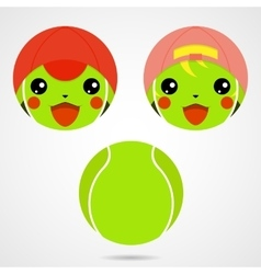 Character tennis ball Cute laughing boy and a vector image