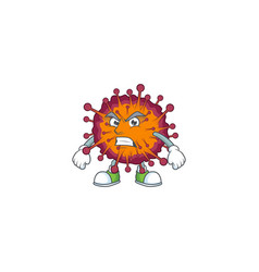Charming covid19 syndrome mascot waving hand vector