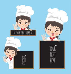 Chef woman and blackboard vector