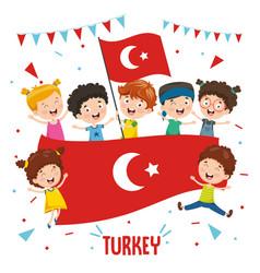 children holding turkey flag vector image