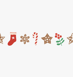 christmas seamless border repeating vector image