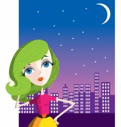 city girl at night vector image vector image