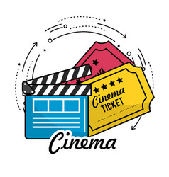 Clapperboard with cinema tickets scene vector