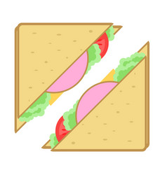 Club sandwich isolated icon vector