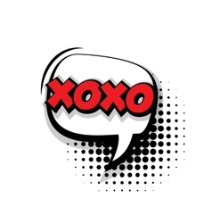 Comic text xoxo sound effects pop art vector image