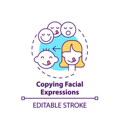 Copying facial expressions concept icon vector