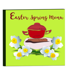 Cover of menu with narcissus blossoms vector