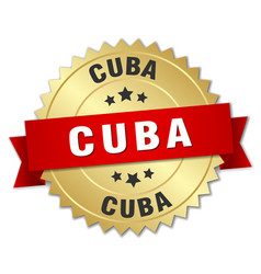 cuba round golden badge with red ribbon vector image