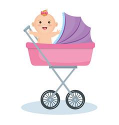 Cute baby in stroller vector