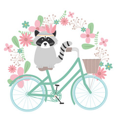 Cute raccoon in bicycle with floral decoration vector
