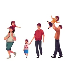 Dad with his little daughter playing and walking vector image