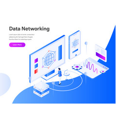 data networking isometric concept modern flat vector image