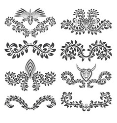 design ornamental elements and labels set floral vector image