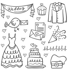 doodle of wedding object various vector image
