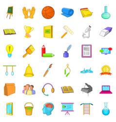 Education icons set cartoon style vector