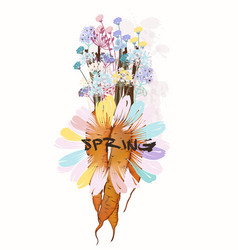 fashion spring design with carrot and field flower vector image