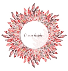 Feather round frame decoration vector image