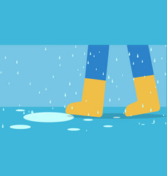feet of man in rain boots walk on road with rain vector image