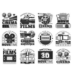 Film reel cinema tickets popcorn and 3d glasses vector